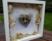 Wicker heart and rose garland handmade 3D box frame home display