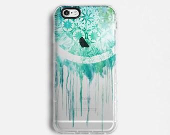Dream catcher iPhone 7 Plus case, iPhone 7 case, iPhone 6s plus case, iPhone 6s case, iPhone SE case, clear case, mint blue C034