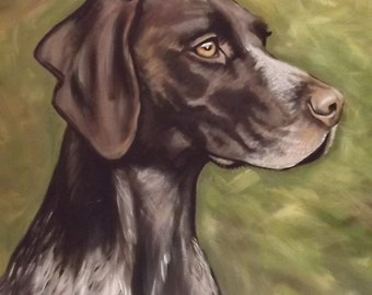 German short haired pointer.Hand painted in Acrylics on canvas.