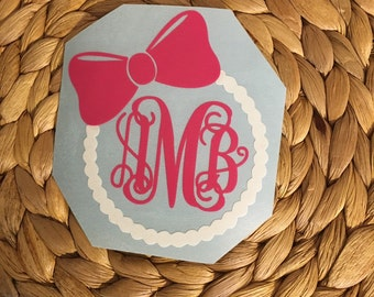 Bow and Pearl Monogrammed Vinyl Decal
