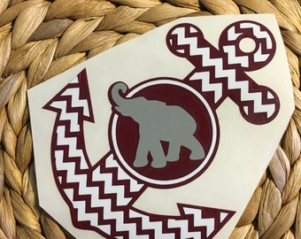 Alabama Roll Tide Chevron Anchor Vinyl Decal