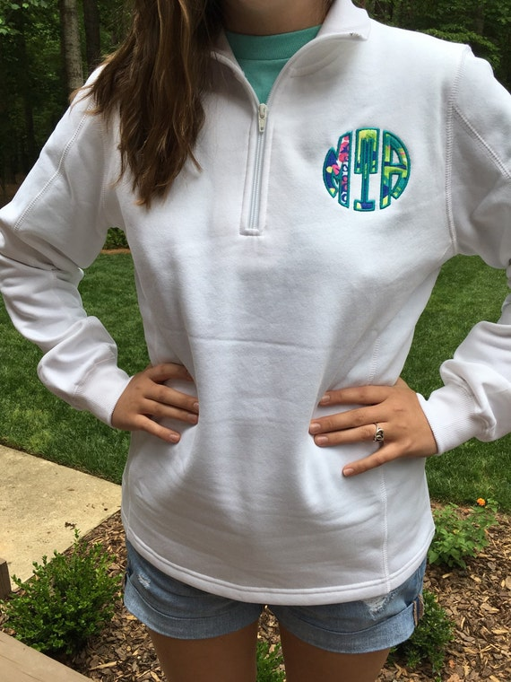lilly pulitzer monogrammed quarter zip fleece pullover