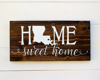 Home Sweet Home Louisiana Rustic Entryway Wall Sign New Orleans Housewarming Home Sweet