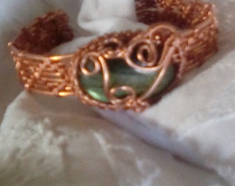 Labrodite and Copper Cuff Bracelet