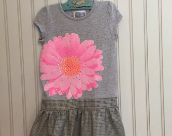 vibrant pink and orange flower dress size 4T months