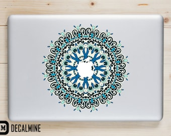 Blue and Green Mandala MacBook Decal Designer Vinyl Sticker Removable Vinyl Decal MacBook Pro Sticker MacBook Air Decal MacBook Decals
