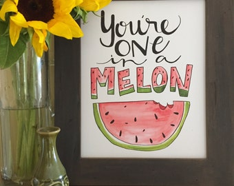 Kitchen Art, Fruit Art, Watermelon Art, Watermelon Collection, One in a Melon, Handmade Watercolor Art Print