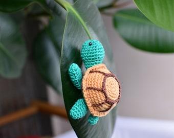 Turtle toy, crochet mini turtle, amigurumi miniature turtle, crochet kawaii animal, little stuffed tiny turtle toy, green toy for children