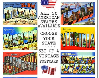 Vintage Texas State Postcard, #5 S-W, Set of 4, CHOOSE Your Favorite USA State, Group Five S-W, Postcards of the United States