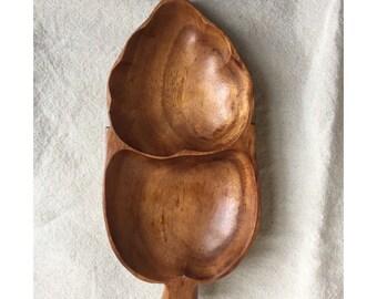 Monkey Pod Leaf Shaped Divided Serving Tray Dish. Vintage Retro Mid Century