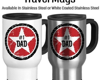 SALE Number One Dad, Rock Star Father, I Love You Dad, Best Dad Ever, Birthday Gift For Dad, Father's Day Gift, Travel Mug, Star, Red