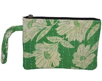 Vintage Kantha Zipper Pouch, Travel Organizer, Cosmetic Bag, Makeup Bag, Boho Clutch