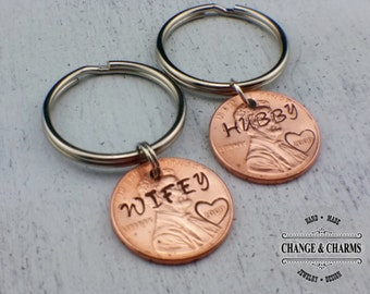 Hubby and Wifey Custom Keychain Set, Custom Keychain, Anniversary Gift, Gift for Wife, Gift for Men, Penny Keychain, Lucky Penny