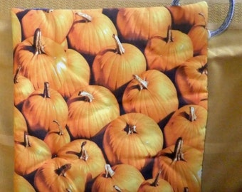 Large Quilted Pot Holder - Pumpkins/Denim Back