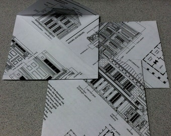 Handmade Blueprint Envelopes Set