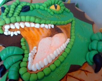 Handmade 2d dinosaur jurassic park, personalised cake topper birthday,shipping from UK