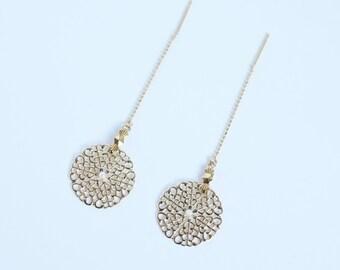 Delicate gold Filigree Thread earrings