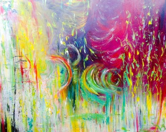 Original abstract painting, Celebrating life