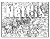 Netflix and Chill Printable Adult Coloring Book Page instant downloadable jpg and pdf files