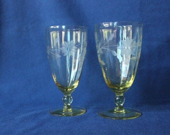 Vintage Etched Yellow Stemware #422