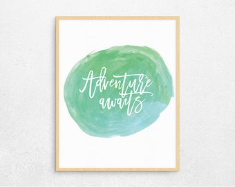 Travel Quote Poster, Digital Poster, Printable Poster, Adventure Wall Art, Watercolor,Digital Art, Instant Download #078