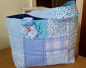 Blue quilted handbag