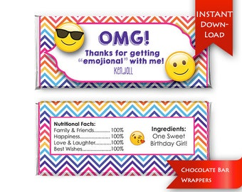 Emoji Party Favors,  Editable Chocolate Bar Wrappers {instant download}