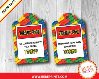 PRINTED Lego Favor Tags | Set of 10 | PERSONALIZED with Child's Name | Printed & Ready to Use!