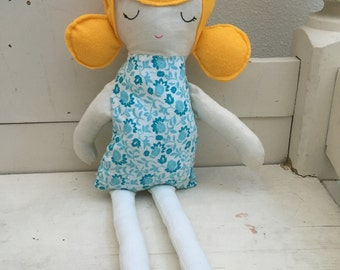 Cloth doll - blond hair, blue dress