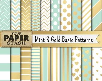 Mint Green & Gold Digital Paper, Mint Green, Gold, Scrapbook Paper, Digital Paper Pack, Mint Chevron, Gold Chevron, Gold Hearts