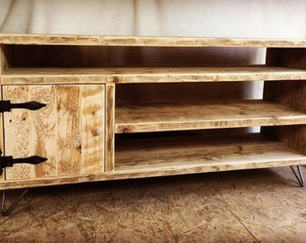 Rustic Hairpin Leg TV Stand/ Tv and and media console unit/ Rustic tv stand
