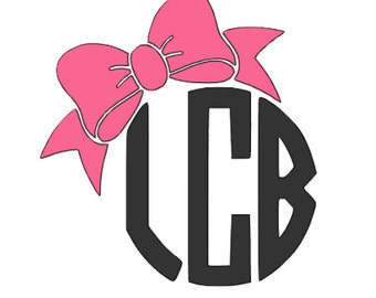 Circle Monogram with Bow Vinyl Decal
