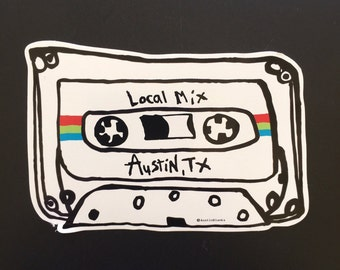 Local Mix Red/Blue/Green Vinyl Sticker - Local Mix - Mix Tape - Austin Texas - Austin Blanks