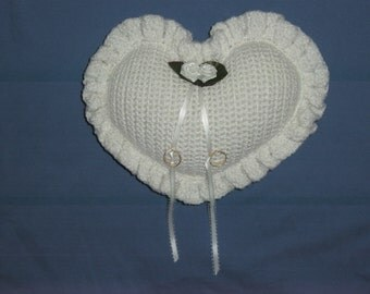 Handmade, Wedding Ring Bearer's Pillow, Crocheted