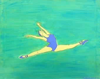 Ballerina, Modern Dance, Dancer, Green(Art Print Matted)