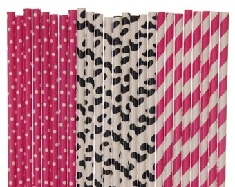 Paper Straw Mix, Cowgirl Hot Pink Striped Cow Print Polka Dot Paper Straws, 1st Birthday Party Decor, Baby Shower Supplies, Pink Farm Party