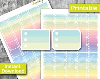 SALES! Ombre Half box Checklist, Pastel Rainbow Sticker, Printable Planner, Printable Sticker, Erin Condren Planner Sticker, pastel color