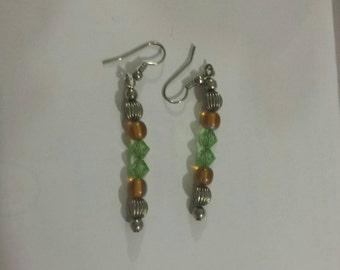 Lime green Swarovski crystals and orange stone bead earrings