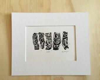 """Linoleum Block Print """"Knots"""""""