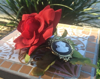 Red Rose with Accent Cameo Hair Clip