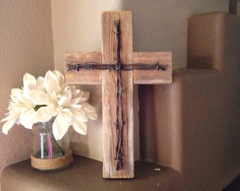 """Rustic Wooden Wall Cross Decorative Cross Reclaimed Wood Barbed Wire Home Decor Wall Hanging Measurements - 12 1/4"""" x 8 3/4"""""""
