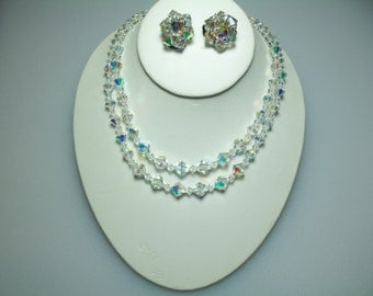 Double Strand Clear Glass Aurora Borealis Bead Necklace and Matching Cluster Clip Earrings Set