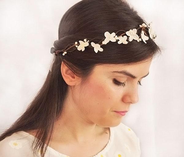 Wedding White Flower Crown: White Head Wreath. Wedding Flower Crown Hair Floral Crown