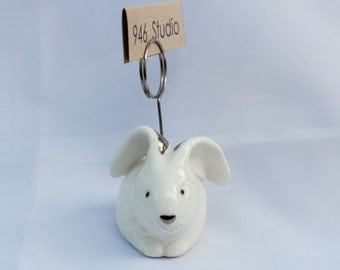 bunny ceramic, rabbit ceramic, home decor, namecard holder, picture holder