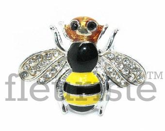 Bee 25x19 mm Rhinestone Button, Flat Back Rhinestone,  Supply, Flat Back Rhinestone, Embellishment, Wholesale Metal Button Rhineston