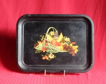Vintage Black Metal Snack Serving Tray with Fruit Basket