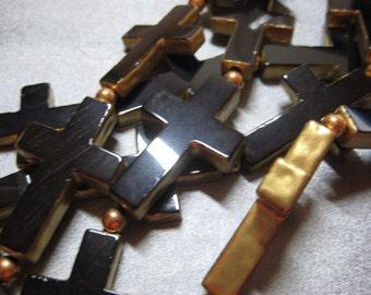 Black Onyx Cross W/ Gold Edged Beads 5pcs