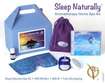 Sleep Naturally® aromatherapy home spa kit / spa gift set with relax-to-sleep CD