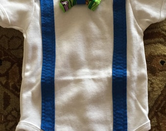 """Tmnt onesie with bow and """"suspenders"""""""