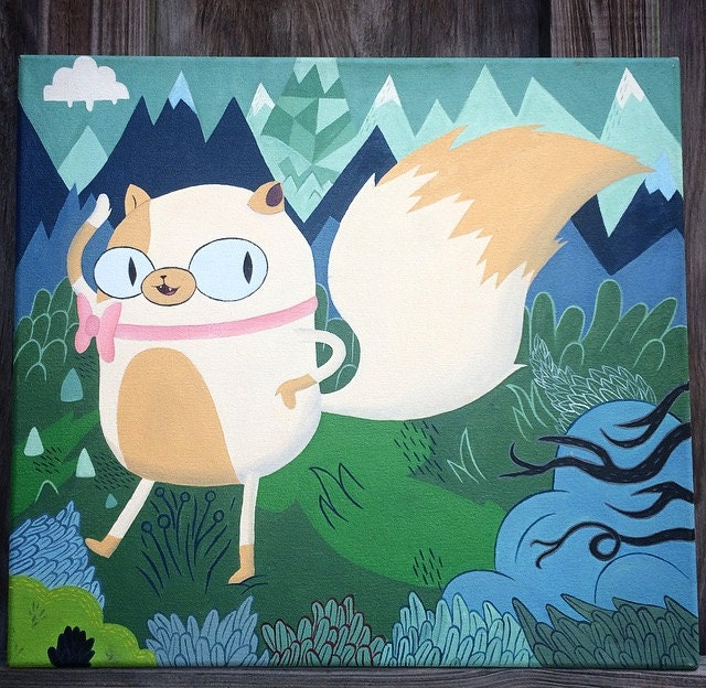 Painting of Adventure Time Cake the Cat